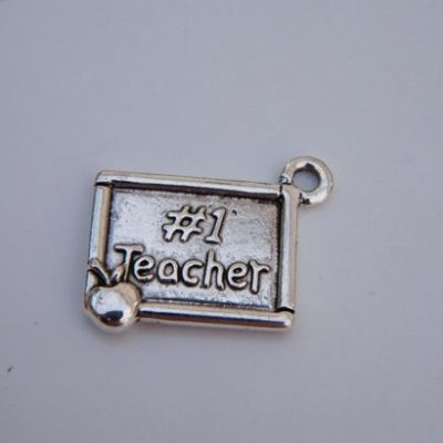 Number 1 Teacher Earrings - Drop Charm Style